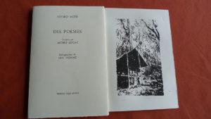 """""""Dix poèmes"""" d'Alvaro Mutis avec trois lithographies de Guy Prévost aux éditions Folle Avoine, traduction Michèle Lefort"""