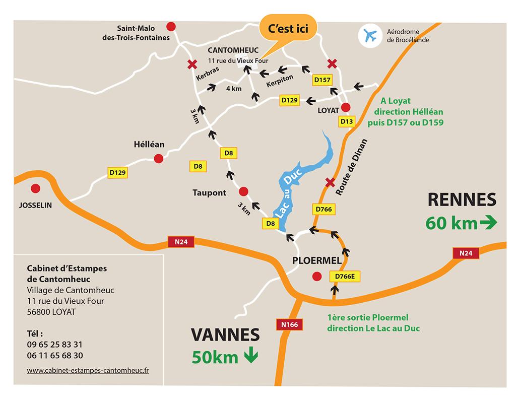 Plan accès Cabinet d'Estampes de Cantomheuc-56800 Loyat
